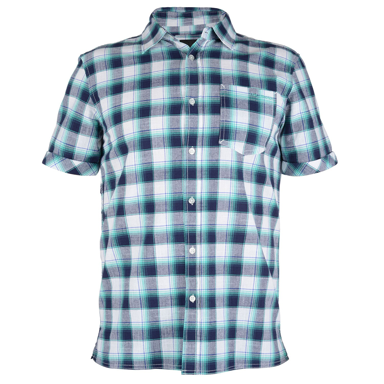 Mens blue checked short sleeve shirt huang free delivery for Navy blue checkered dress shirt