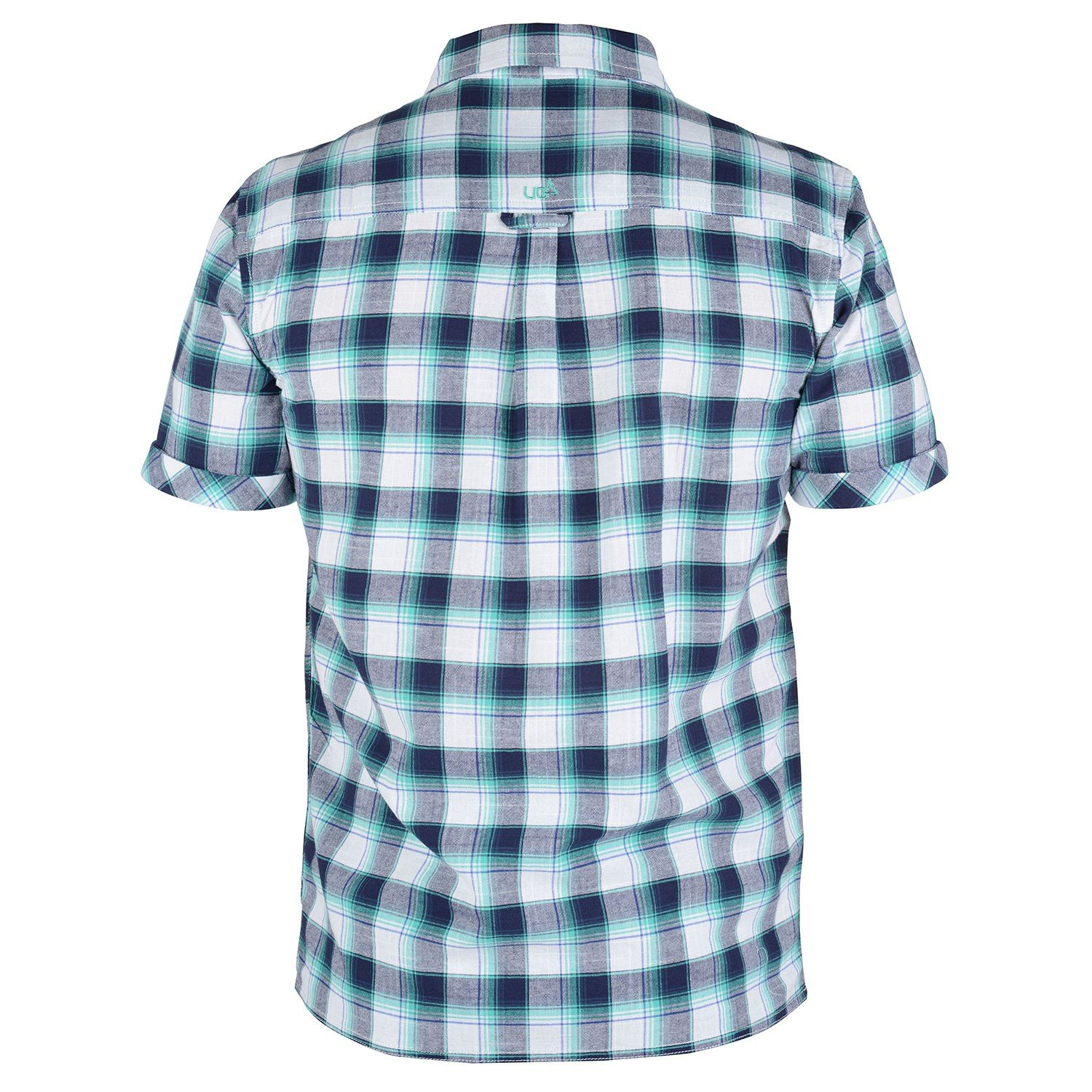 Mens Blue Checked Short Sleeve Shirt Huang Free Delivery