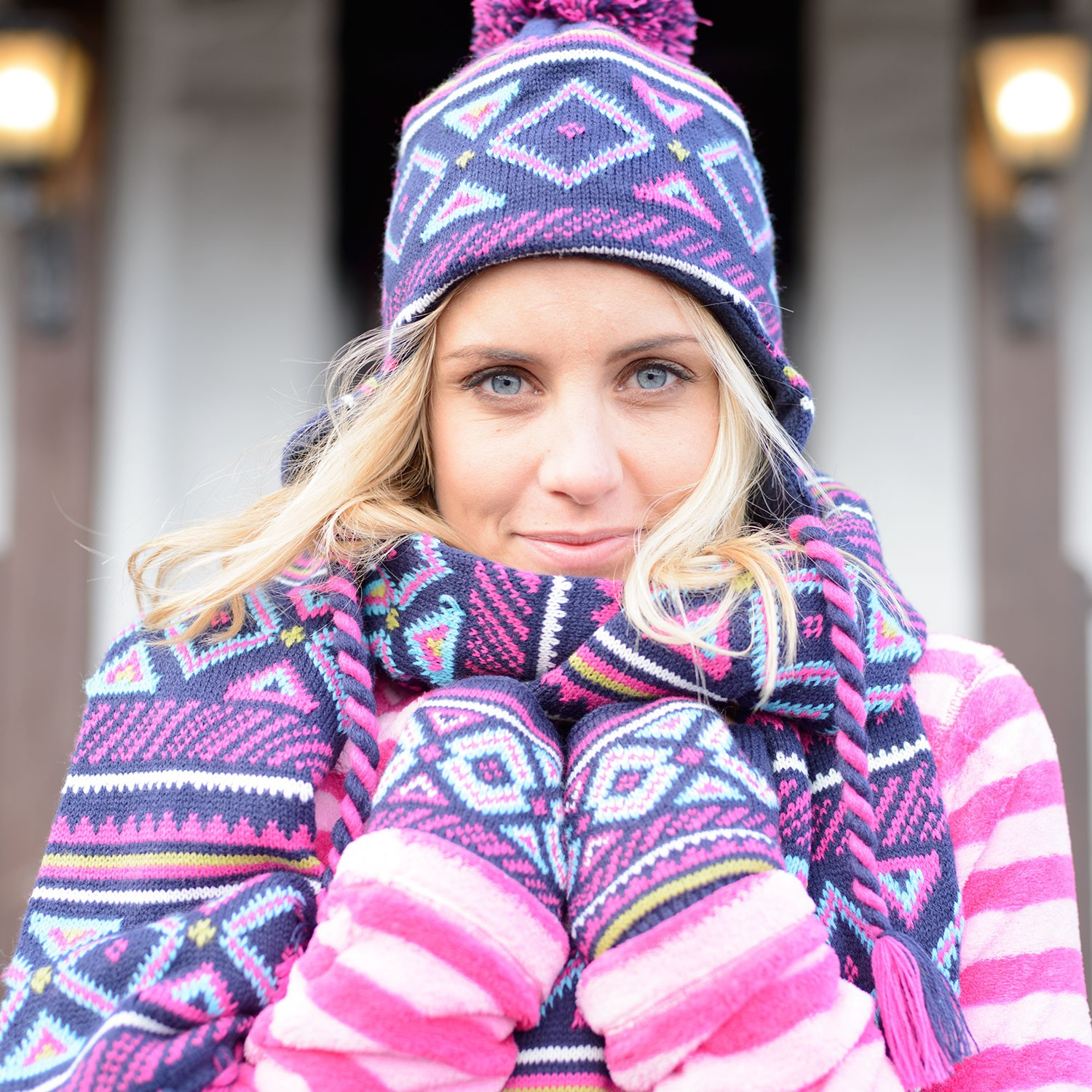 00f5e2dcf15 Womens Pink Purple Aztec Beanie Hat Richmond- Free Delivery Over £20 ...