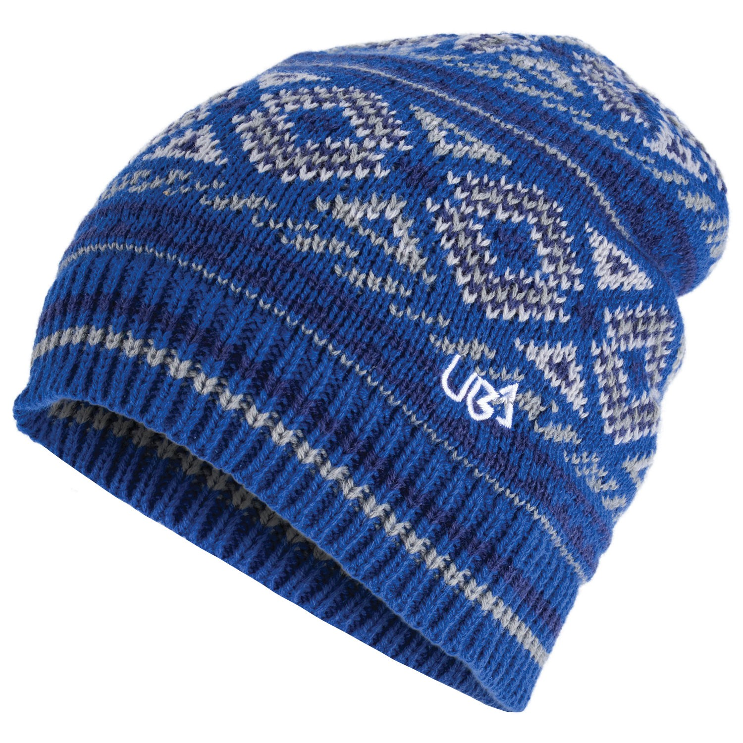 Blue Patterned Nordic Beanie Hat Nomad- Free Delivery Over £20 - Urban Beach 141b839a5e0
