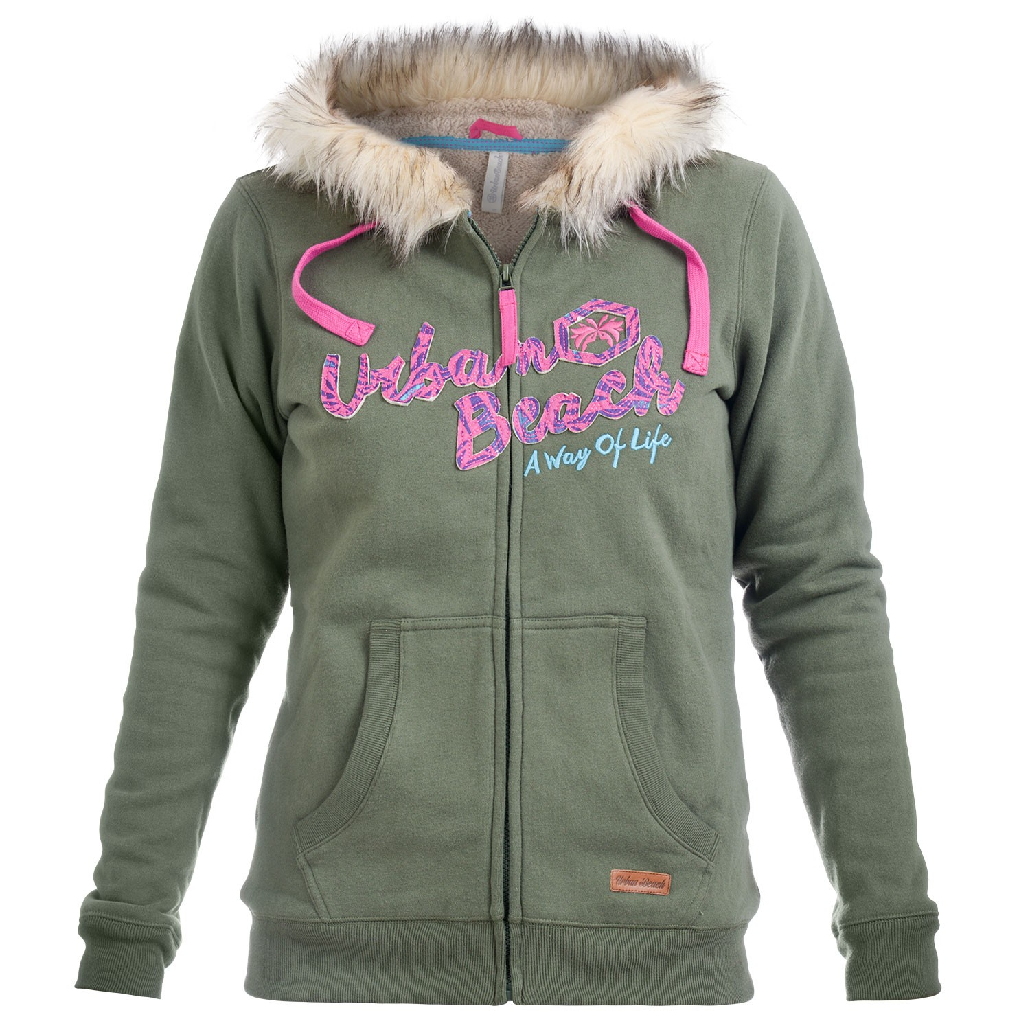 1c6cbea3 Womens Khaki Fur Lined Zip Up Hoodie Isabel- Free Delivery Over £20 - Urban  Beach