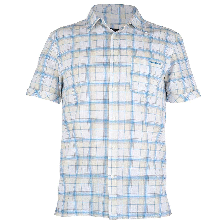 Mens white checked short sleeve shirt huang free delivery for Aqua blue mens dress shirt