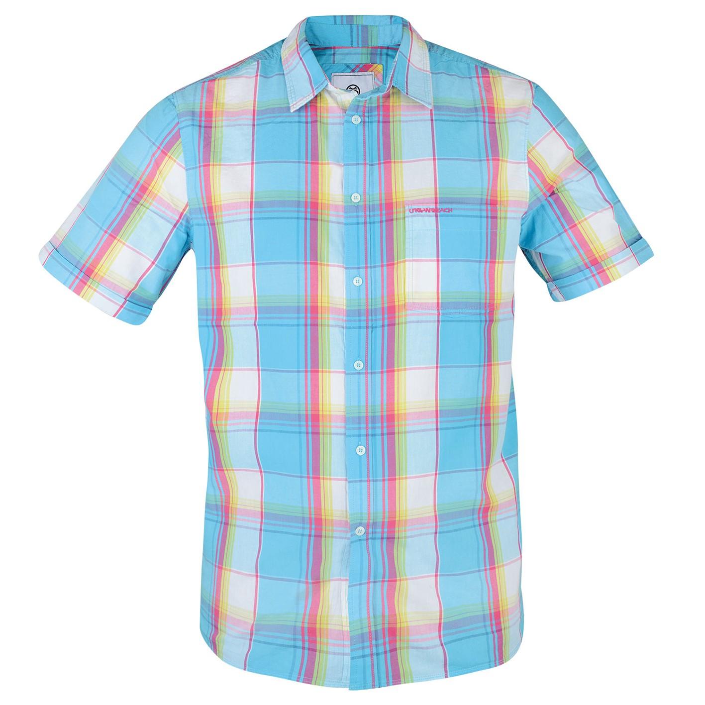 Mens light blue check short sleeve shirt aqua free for Light blue short sleeve shirt mens