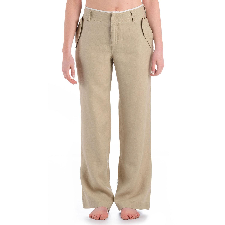 Womens Plateau Linen Trousers Beige