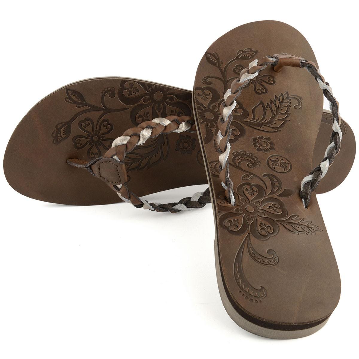 "Womens Leather ""Ainaloa"" Flip Flop - Brown"