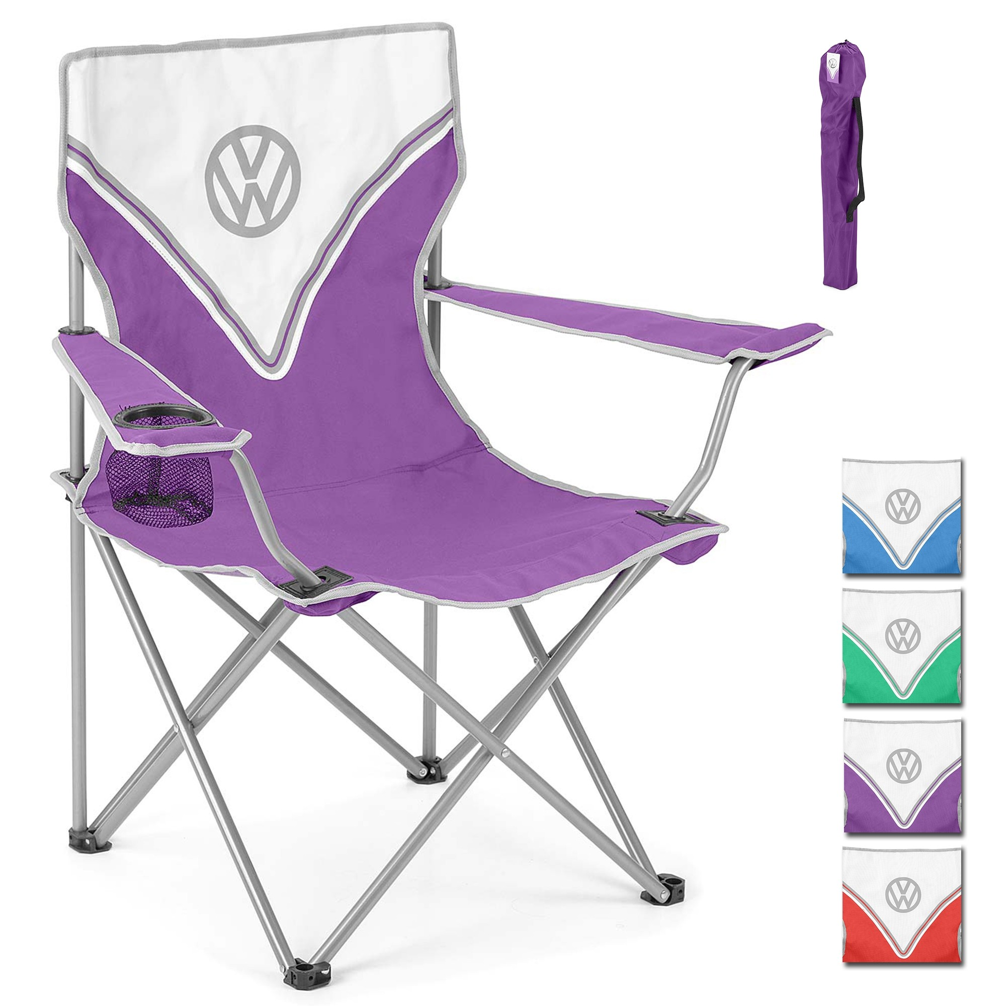 Volkswagen Vw Folding Camping Chair Lightweight Portable Heavy Duty With Cup Holder Campervan Accessories Gifts For
