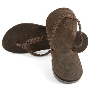 Women's Leather Jungle Beach Brown Flip Flops