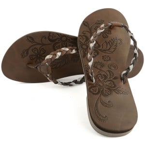 "Womens Leather ""Ainaloa"" Flip Flop - Brown"