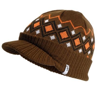 Traverse Brown Knitted Peak Beanie Hat