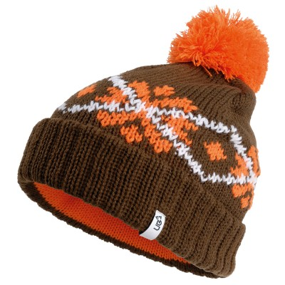 Bobble Brown Knitted Beanie Hat