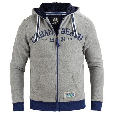 Mens Established Full Zip Hoodie Grey Marl