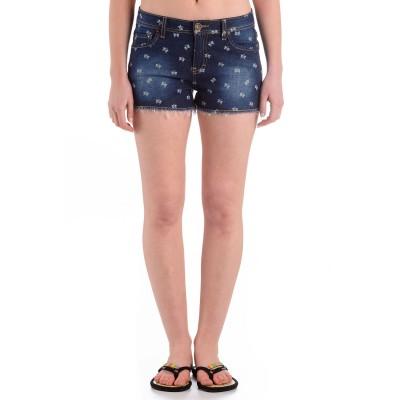 Womens Butterfly Denim Shorts Dark Blue