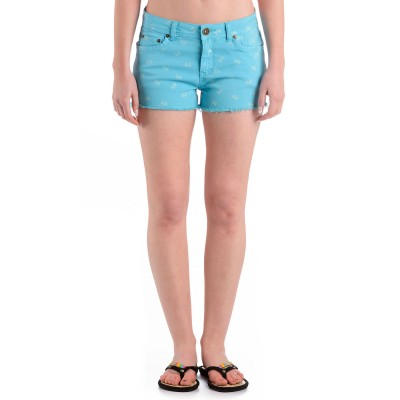 Womens Butterfly Denim Shorts Light Blue