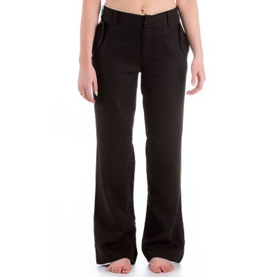 Womens Plateau Linen Trousers Black