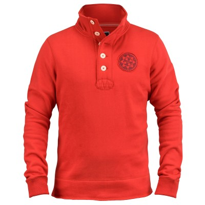 Mens Delano F1 Red Button Neck Sweatshirt