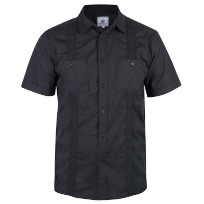 Mens Black Havana Cuban Shirt