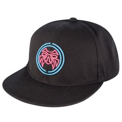 Mens Black Flat Peak Cap