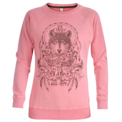 Women's Dancing Wolves Pink Sweatshirt