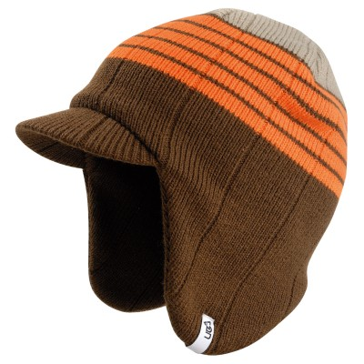 Linear Brown Knitted Peak Beanie Hat