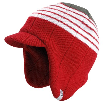 Linear Red Knitted Peak Beanie Hat
