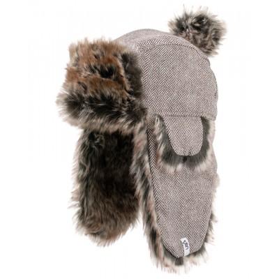 Sherpa Brown Deerstalker Bobble  Hat