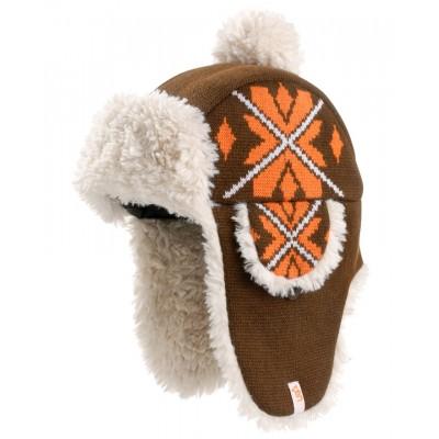 Sherpa Brown Snowflake Deerstalker Bobble Hat
