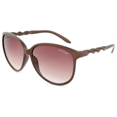 Womens Twist Round Frame Sunglasses Brown