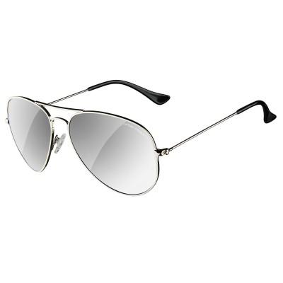 Mens Silver Hunter Aviator Sunglasses