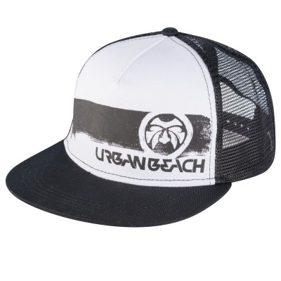 Mens Black Brush Stroke Trucker Cap