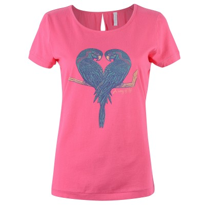 Womens Pink Love Birds T-Shirt