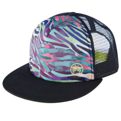 Black Nikki Beach Rockstar Trucker Cap