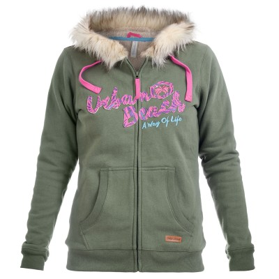 Women's Isabel Fur-Lined Green Hoody