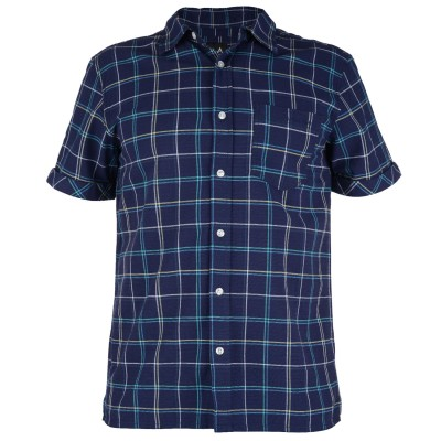 Mens Huang Check Shirt - Denim Blue