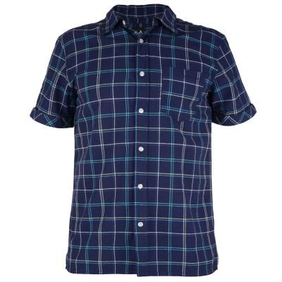Mens Huang Check Shirt - Denim Blue