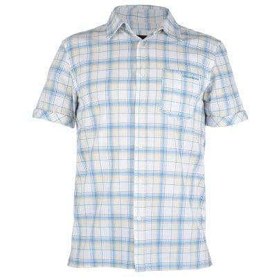 Mens Huang Check Shirt - Aqua Blue