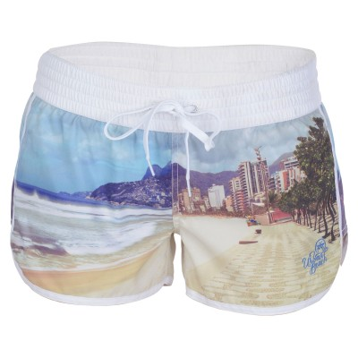 Womens Camber Swim Shorts - Cream Photo Print